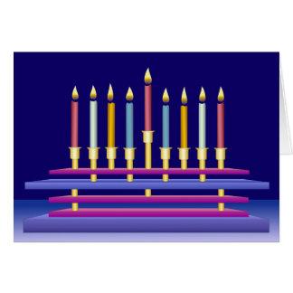 Hanukkiya and Colorful Candles Greeting Card