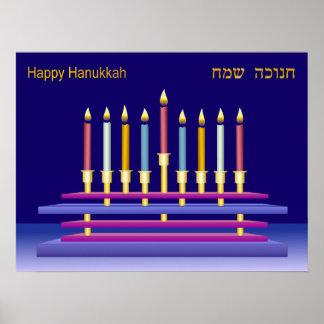 Hanukkiya and Colorful Candles Poster