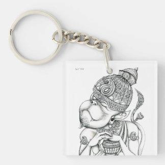 Hanuman, dios del mono llavero cuadrado acrílico a una cara