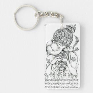 Hanuman, dios del mono llavero rectangular acrílico a una cara
