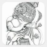 Hanuman, dios del mono pegatina cuadrada