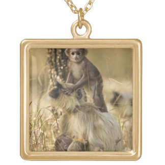 Hanuman Langur adult with young Gold Plated Necklace