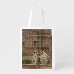 Hanuman Langurs or Black-faced, Common or Grey Grocery Bag