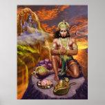 Hanuman que recibe las bendiciones de Shiva Póster