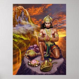 Hanuman Receiving Shiva's Blessings Poster