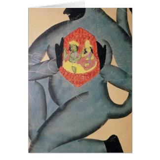 Hanuman revealing Rama and Sita Greeting Card