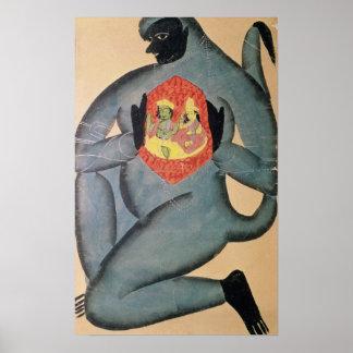Hanuman revealing Rama and Sita Poster