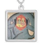 Hanuman revealing Rama and Sita Square Pendant Necklace