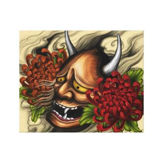 Hanya Mask and Peony Canvas Print