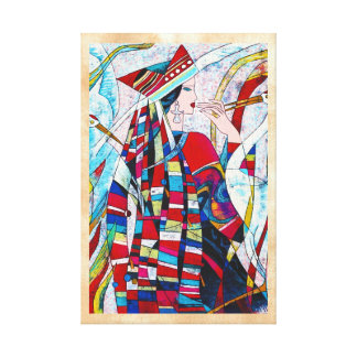 Hao Ping Crane Dance abstract lady painting Canvas Print