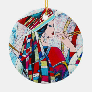 Hao Ping Crane Dance abstract lady painting Ceramic Ornament