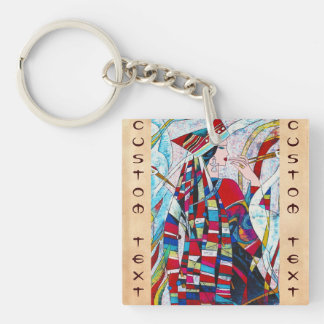 Hao Ping Crane Dance abstract lady painting Keychain