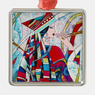 Hao Ping Crane Dance abstract lady painting Metal Ornament