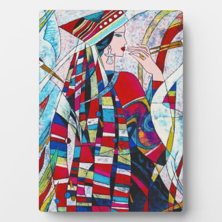 Hao Ping Crane Dance abstract lady painting Plaque