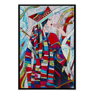 Hao Ping Crane Dance abstract lady painting Poster