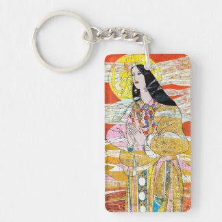 Hao Ping 'Pray' praying oriental lady abstract art Keychain