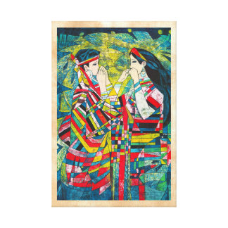 Hao Ping Silent Night Sound to Convey two ladies Canvas Print