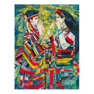 Hao Ping Silent Night Sound to Convey two ladies Postcard