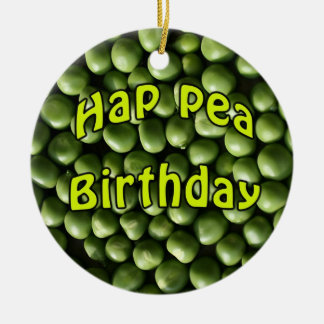 Hap Pea Birthday Double-Sided Ceramic Round Christmas Ornament