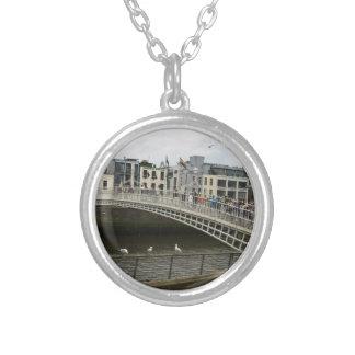 Hapenny Bridge Dublin Round Pendant Necklace
