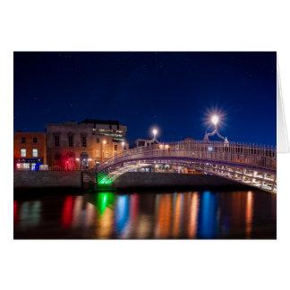 Ha'Penny Bridge Under A Night Sky In Dublin Card
