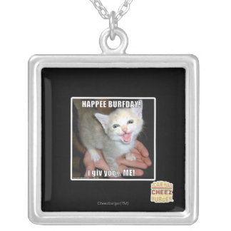 HAPPEE BURFDAY! SILVER PLATED NECKLACE