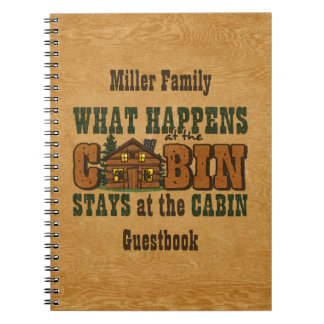 Happens At The Cabin Personalized Guestbook Spiral Notebook