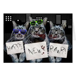 Happi New Rawr Kitty Trio Greeting Cards