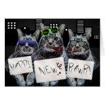 Happi New Rawr Kitty Trio Greeting Card