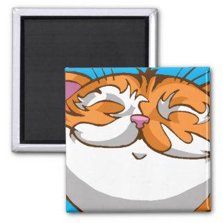Happie Cat 2 Inch Square Magnet