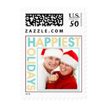 Happiest Holidays blue sand picture photo stamps