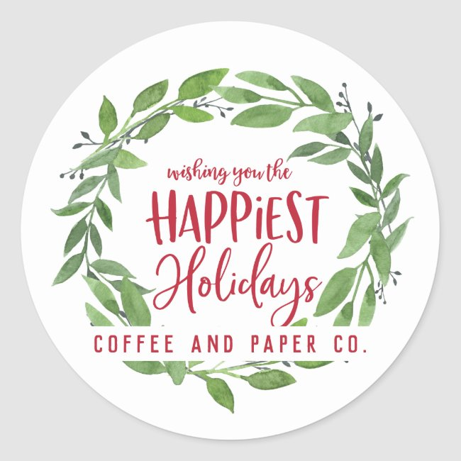 Happiest holidays corporate business christmas classic round sticker