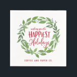 """Happiest Holidays corporate business christmas Napkin<br><div class=""""desc"""">Happiest Holidays corporate business christmas napkins.</div>"""