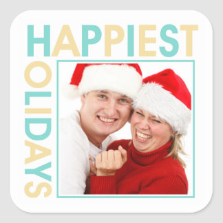 Happiest Holidays family photo christmas gift tag Square Sticker