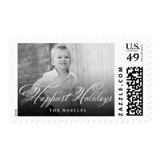 Happiest Holidays Flourish Script Photo Stamps