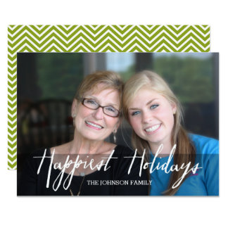 Happiest Holidays Modern Full Photo - White Type Card