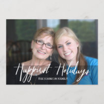 Happiest Holidays Modern Full Photo - White Type Holiday Card