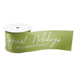 Happiest Holidays Modern Full Photo - White Type Satin Ribbon