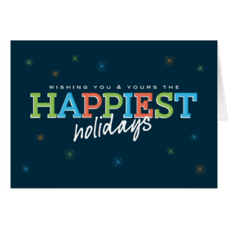 Happiest Holidays Navy Greeting Cards