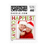 Happiest Holidays red green picture photo stamps