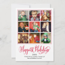 Happiest Holidays | Red Photo Collage Holiday Card