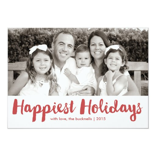 Happiest Holidays Red Script Christmas Photo Card