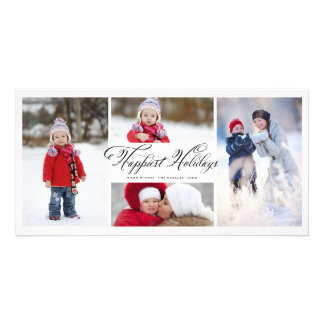 Happiest Holidays Script Modern Photo Collage Card