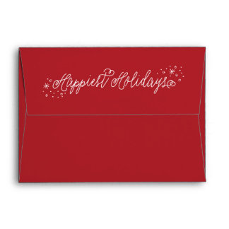 Happiest Holidays Script Red Christmas Envelope