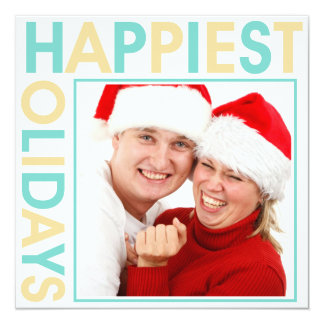 Happiest Holidays stagger steps bold blue sand Card
