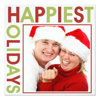 Happiest Holidays stagger steps bold red green Card