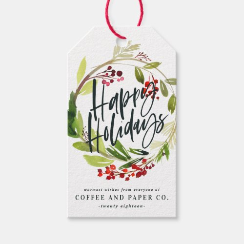 Happiest holidays watercolor floral corporate gift tags