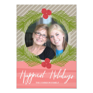 Happiest Holidays Whimsical Branches with 1 Photo 5x7 Paper Invitation Card