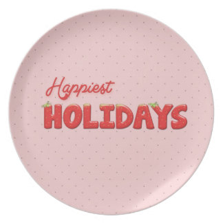 Happiest Holydays Strawberry Text Dinner Plate