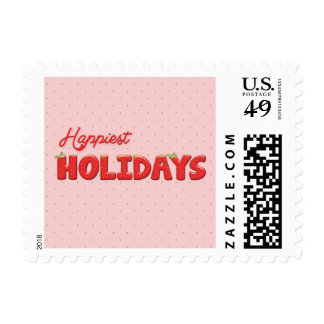 Happiest Holydays Strawberry Text Postage